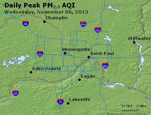 Peak Particles PM<sub>2.5</sub> (24-hour) - http://files.airnowtech.org/airnow/2013/20131106/peak_pm25_minneapolis_mn.jpg