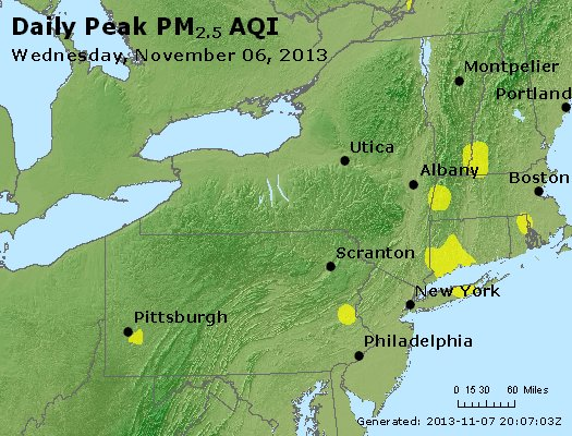 Peak Particles PM<sub>2.5</sub> (24-hour) - http://files.airnowtech.org/airnow/2013/20131106/peak_pm25_ny_pa_nj.jpg