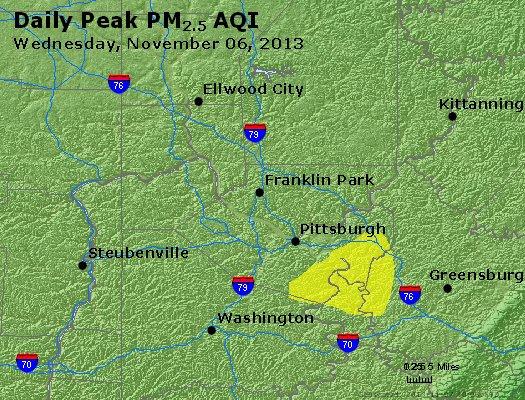 Peak Particles PM<sub>2.5</sub> (24-hour) - http://files.airnowtech.org/airnow/2013/20131106/peak_pm25_pittsburgh_pa.jpg