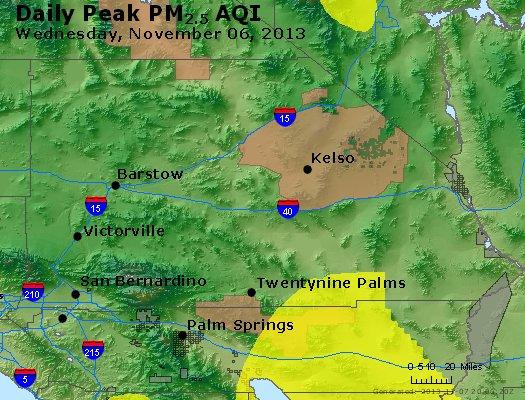 Peak Particles PM<sub>2.5</sub> (24-hour) - http://files.airnowtech.org/airnow/2013/20131106/peak_pm25_sanbernardino_ca.jpg