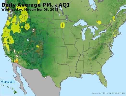 Peak Particles PM<sub>2.5</sub> (24-hour) - http://files.airnowtech.org/airnow/2013/20131106/peak_pm25_usa.jpg