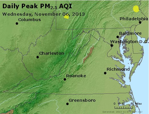 Peak Particles PM<sub>2.5</sub> (24-hour) - http://files.airnowtech.org/airnow/2013/20131106/peak_pm25_va_wv_md_de_dc.jpg