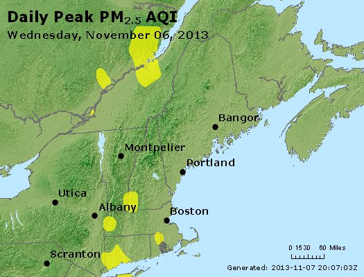 Peak Particles PM<sub>2.5</sub> (24-hour) - http://files.airnowtech.org/airnow/2013/20131106/peak_pm25_vt_nh_ma_ct_ri_me.jpg