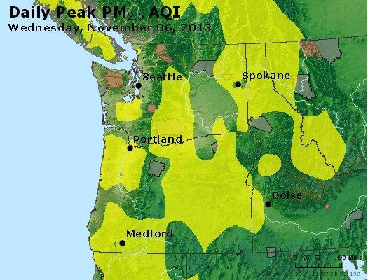 Peak Particles PM<sub>2.5</sub> (24-hour) - http://files.airnowtech.org/airnow/2013/20131106/peak_pm25_wa_or.jpg
