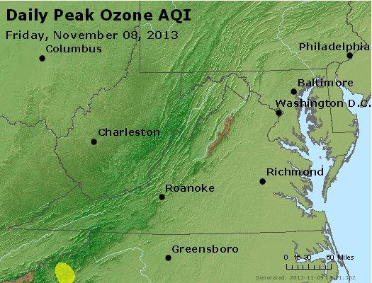 Peak Ozone (8-hour) - http://files.airnowtech.org/airnow/2013/20131108/peak_o3_va_wv_md_de_dc.jpg