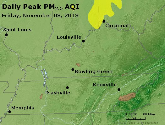 Peak Particles PM<sub>2.5</sub> (24-hour) - http://files.airnowtech.org/airnow/2013/20131108/peak_pm25_ky_tn.jpg