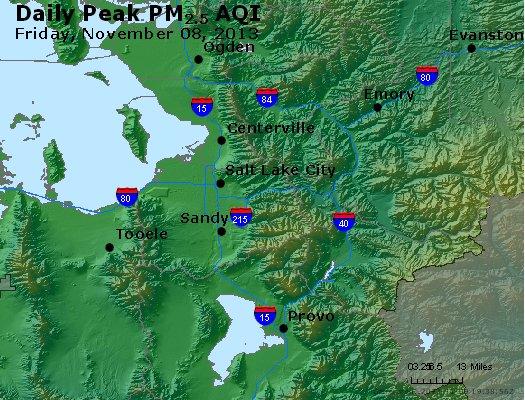Peak Particles PM<sub>2.5</sub> (24-hour) - http://files.airnowtech.org/airnow/2013/20131108/peak_pm25_saltlakecity_ut.jpg