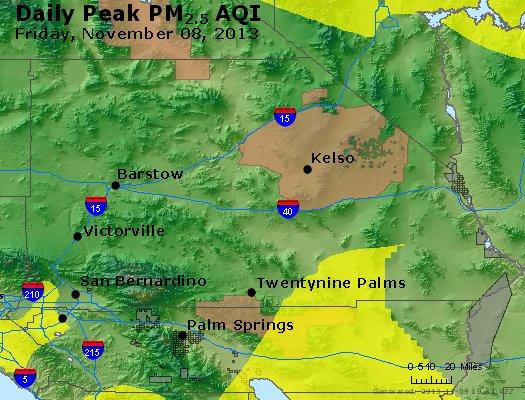 Peak Particles PM<sub>2.5</sub> (24-hour) - http://files.airnowtech.org/airnow/2013/20131108/peak_pm25_sanbernardino_ca.jpg