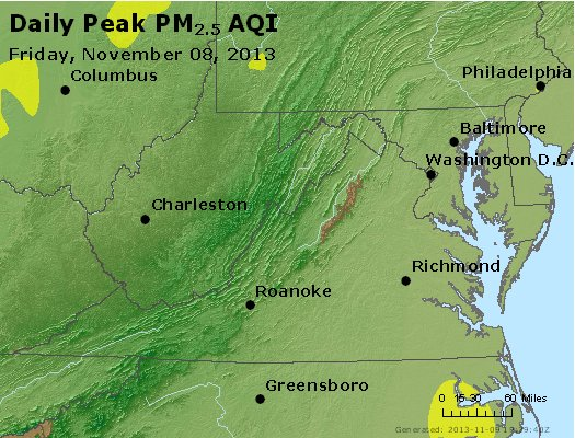 Peak Particles PM<sub>2.5</sub> (24-hour) - http://files.airnowtech.org/airnow/2013/20131108/peak_pm25_va_wv_md_de_dc.jpg