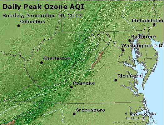 Peak Ozone (8-hour) - http://files.airnowtech.org/airnow/2013/20131110/peak_o3_va_wv_md_de_dc.jpg