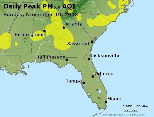 Peak Particles PM<sub>2.5</sub> (24-hour) - http://files.airnowtech.org/airnow/2013/20131110/peak_pm25_al_ga_fl.jpg