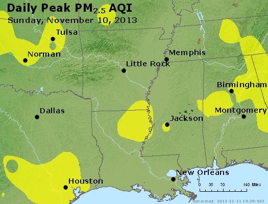 Peak Particles PM<sub>2.5</sub> (24-hour) - http://files.airnowtech.org/airnow/2013/20131110/peak_pm25_ar_la_ms.jpg
