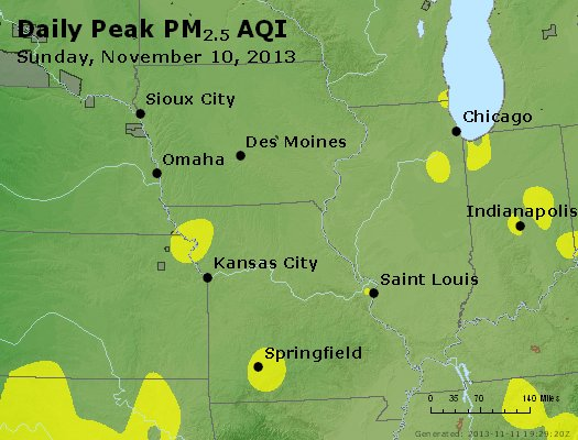 Peak Particles PM<sub>2.5</sub> (24-hour) - http://files.airnowtech.org/airnow/2013/20131110/peak_pm25_ia_il_mo.jpg