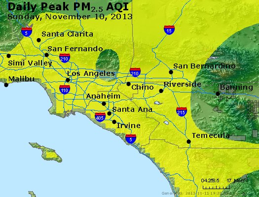 Peak Particles PM<sub>2.5</sub> (24-hour) - http://files.airnowtech.org/airnow/2013/20131110/peak_pm25_losangeles_ca.jpg