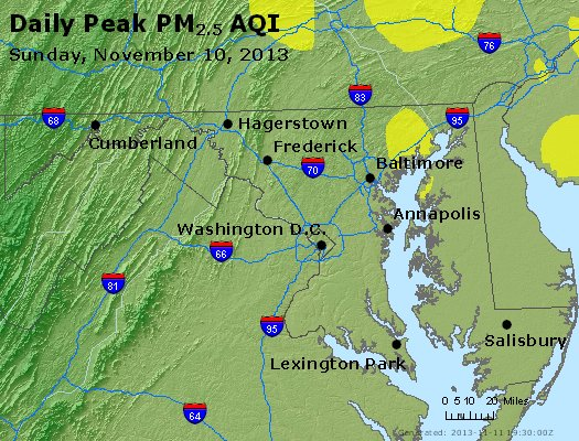 Peak Particles PM<sub>2.5</sub> (24-hour) - http://files.airnowtech.org/airnow/2013/20131110/peak_pm25_maryland.jpg