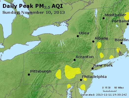 Peak Particles PM<sub>2.5</sub> (24-hour) - http://files.airnowtech.org/airnow/2013/20131110/peak_pm25_ny_pa_nj.jpg
