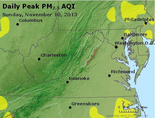 Peak Particles PM<sub>2.5</sub> (24-hour) - http://files.airnowtech.org/airnow/2013/20131110/peak_pm25_va_wv_md_de_dc.jpg