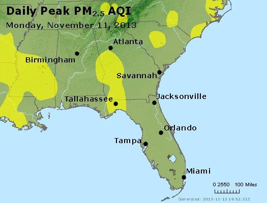 Peak Particles PM<sub>2.5</sub> (24-hour) - http://files.airnowtech.org/airnow/2013/20131111/peak_pm25_al_ga_fl.jpg