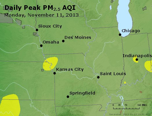 Peak Particles PM<sub>2.5</sub> (24-hour) - http://files.airnowtech.org/airnow/2013/20131111/peak_pm25_ia_il_mo.jpg