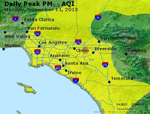 Peak Particles PM<sub>2.5</sub> (24-hour) - http://files.airnowtech.org/airnow/2013/20131111/peak_pm25_losangeles_ca.jpg