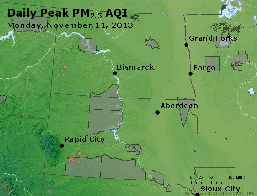 Peak Particles PM<sub>2.5</sub> (24-hour) - http://files.airnowtech.org/airnow/2013/20131111/peak_pm25_nd_sd.jpg