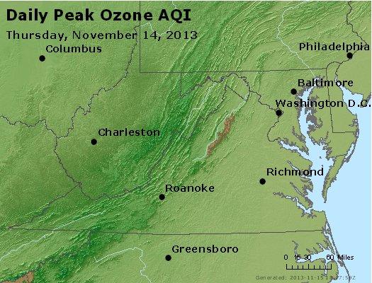 Peak Ozone (8-hour) - http://files.airnowtech.org/airnow/2013/20131114/peak_o3_va_wv_md_de_dc.jpg