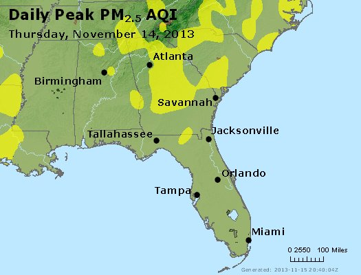 Peak Particles PM<sub>2.5</sub> (24-hour) - http://files.airnowtech.org/airnow/2013/20131114/peak_pm25_al_ga_fl.jpg