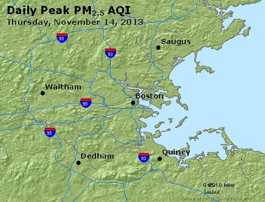 Peak Particles PM<sub>2.5</sub> (24-hour) - http://files.airnowtech.org/airnow/2013/20131114/peak_pm25_boston_ma.jpg