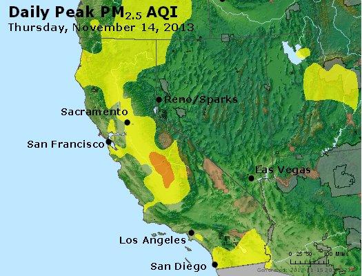 Peak Particles PM<sub>2.5</sub> (24-hour) - http://files.airnowtech.org/airnow/2013/20131114/peak_pm25_ca_nv.jpg