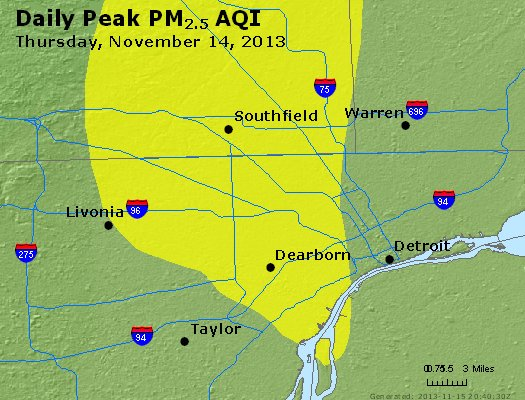 Peak Particles PM<sub>2.5</sub> (24-hour) - http://files.airnowtech.org/airnow/2013/20131114/peak_pm25_detroit_mi.jpg