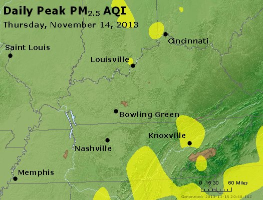 Peak Particles PM<sub>2.5</sub> (24-hour) - http://files.airnowtech.org/airnow/2013/20131114/peak_pm25_ky_tn.jpg