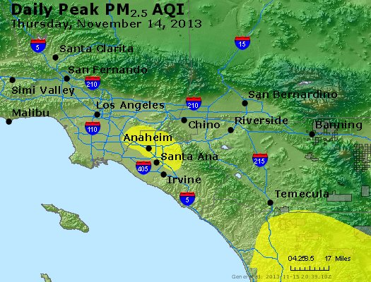 Peak Particles PM<sub>2.5</sub> (24-hour) - http://files.airnowtech.org/airnow/2013/20131114/peak_pm25_losangeles_ca.jpg
