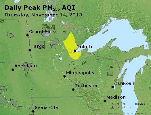 Peak Particles PM<sub>2.5</sub> (24-hour) - http://files.airnowtech.org/airnow/2013/20131114/peak_pm25_mn_wi.jpg