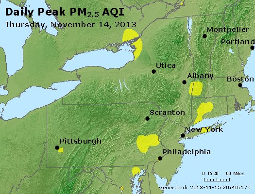 Peak Particles PM<sub>2.5</sub> (24-hour) - http://files.airnowtech.org/airnow/2013/20131114/peak_pm25_ny_pa_nj.jpg