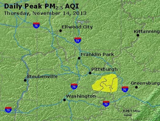 Peak Particles PM<sub>2.5</sub> (24-hour) - http://files.airnowtech.org/airnow/2013/20131114/peak_pm25_pittsburgh_pa.jpg