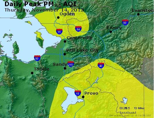 Peak Particles PM<sub>2.5</sub> (24-hour) - http://files.airnowtech.org/airnow/2013/20131114/peak_pm25_saltlakecity_ut.jpg