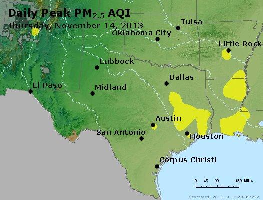 Peak Particles PM<sub>2.5</sub> (24-hour) - http://files.airnowtech.org/airnow/2013/20131114/peak_pm25_tx_ok.jpg