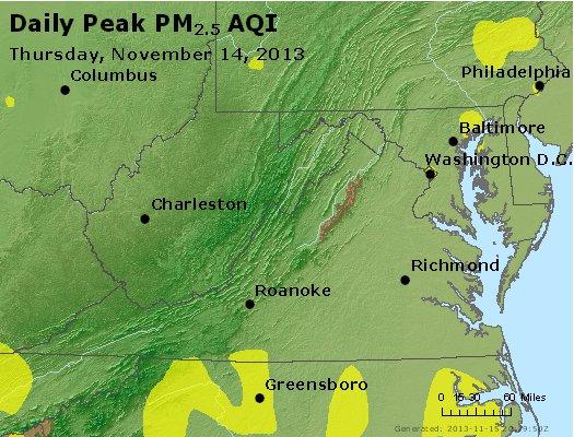 Peak Particles PM<sub>2.5</sub> (24-hour) - http://files.airnowtech.org/airnow/2013/20131114/peak_pm25_va_wv_md_de_dc.jpg