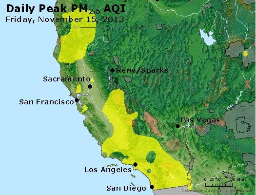 Peak Particles PM<sub>2.5</sub> (24-hour) - http://files.airnowtech.org/airnow/2013/20131115/peak_pm25_ca_nv.jpg