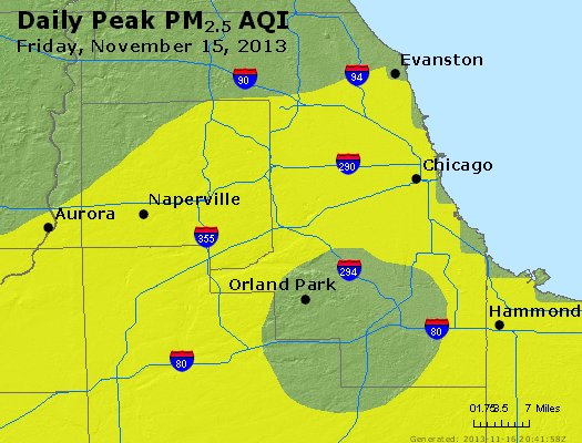 Peak Particles PM<sub>2.5</sub> (24-hour) - http://files.airnowtech.org/airnow/2013/20131115/peak_pm25_chicago_il.jpg