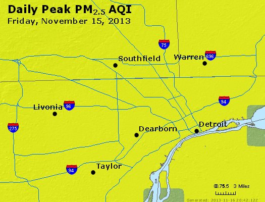 Peak Particles PM<sub>2.5</sub> (24-hour) - http://files.airnowtech.org/airnow/2013/20131115/peak_pm25_detroit_mi.jpg