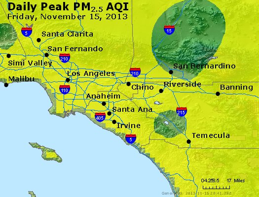 Peak Particles PM<sub>2.5</sub> (24-hour) - http://files.airnowtech.org/airnow/2013/20131115/peak_pm25_losangeles_ca.jpg