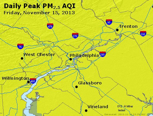 Peak Particles PM<sub>2.5</sub> (24-hour) - http://files.airnowtech.org/airnow/2013/20131115/peak_pm25_philadelphia_pa.jpg