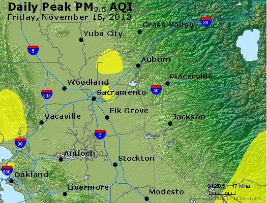 Peak Particles PM<sub>2.5</sub> (24-hour) - http://files.airnowtech.org/airnow/2013/20131115/peak_pm25_sacramento_ca.jpg