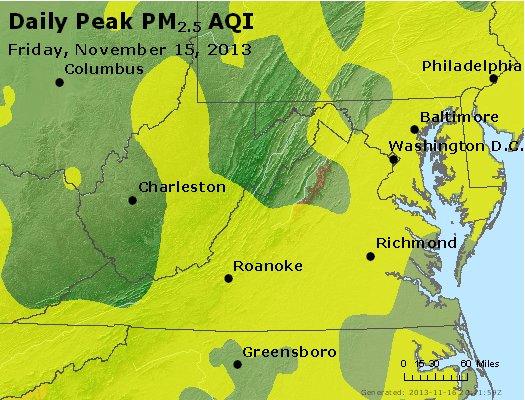 Peak Particles PM<sub>2.5</sub> (24-hour) - http://files.airnowtech.org/airnow/2013/20131115/peak_pm25_va_wv_md_de_dc.jpg