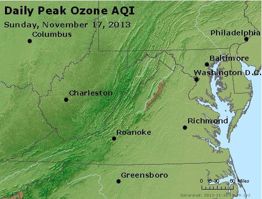 Peak Ozone (8-hour) - http://files.airnowtech.org/airnow/2013/20131117/peak_o3_va_wv_md_de_dc.jpg