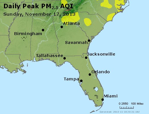 Peak Particles PM<sub>2.5</sub> (24-hour) - http://files.airnowtech.org/airnow/2013/20131117/peak_pm25_al_ga_fl.jpg