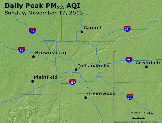 Peak Particles PM<sub>2.5</sub> (24-hour) - http://files.airnowtech.org/airnow/2013/20131117/peak_pm25_indianapolis_in.jpg