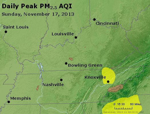 Peak Particles PM<sub>2.5</sub> (24-hour) - http://files.airnowtech.org/airnow/2013/20131117/peak_pm25_ky_tn.jpg