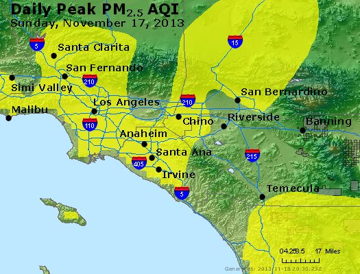 Peak Particles PM<sub>2.5</sub> (24-hour) - http://files.airnowtech.org/airnow/2013/20131117/peak_pm25_losangeles_ca.jpg